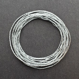 A coil of 3-ply silver metallic lamé.