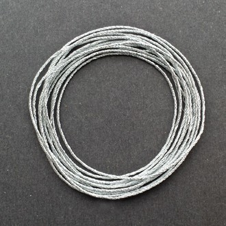A coil of 4-ply silver metallic lamé.