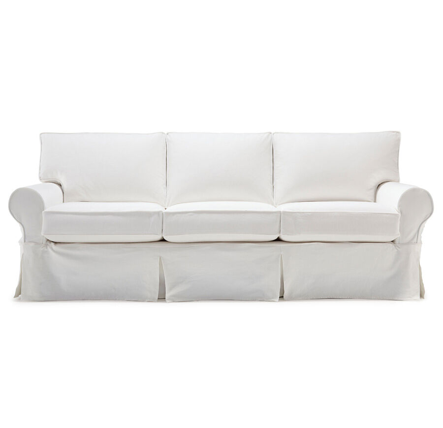 white denim sofa covers sectional fabric choices alexa ii luxe queen slipcover sleeper