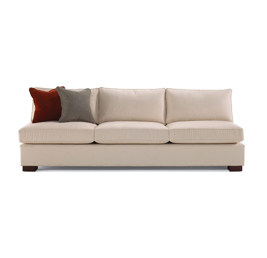 armless white leather sofa how to clean my with baking soda sofas damon modern living room