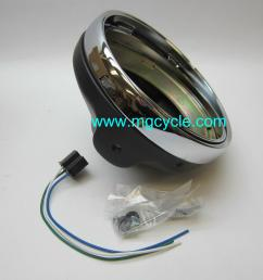 7 headlight bucket kit black back with chrome trim ring [ 1600 x 1200 Pixel ]