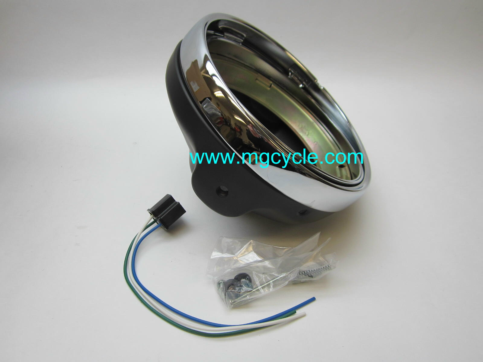 hight resolution of 7 headlight bucket kit black back with chrome trim ring