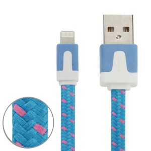 1m Woven Style 8 Pin to USB Data / Charging Cable for iPhone / iPad (Blue)