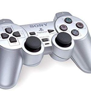 PS2: DualShock 2 peliohjain (Hopea) (käytetty)