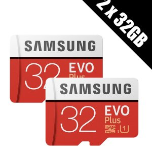 2 x Samsung Memory Evo Plus 32GB Micro SDHC Card 95MB/s UHS-I U1 Class 10 with Adapter (Multi-pack of 2 cards and adapters)