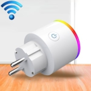 15A WiFi EU Plug Power Adapter Electricity Statistics APP Remote Control Timer Smart Socket, with Alexa & Google Home & RGB Colors LED Light, AC 100-250V