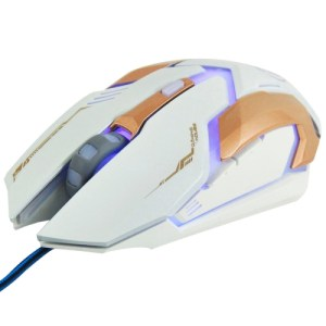 iMICE V6 LED Colorful Light USB 6 Buttons 3200 DPI Wired Optical Gaming Mouse for Computer PC Laptop(White)