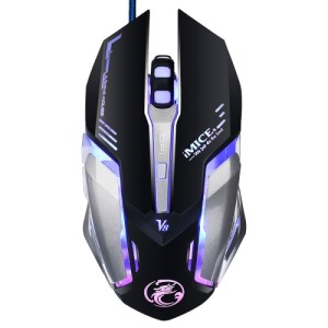 iMICE V8 LED Colorful Light USB 6 Buttons 4000 DPI Wired Optical Gaming Mouse for Computer PC Laptop(Black)