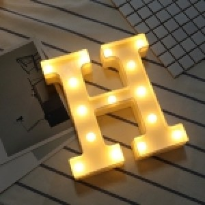 Alphabet English Letter H Shape Decorative Light, Dry Battery Powered Warm White Standing Hanging LED Holiday Light