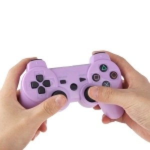 PS3: Wireless DoubleShock III Game Controller without Cable for Sony PS3, Built-in 600mA Rechargeable Lithium Battery(Purple)