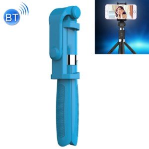 2 in 1 Foldable Bluetooth Selfie Stick Tripod for iPhone and Android Phones(Blue)