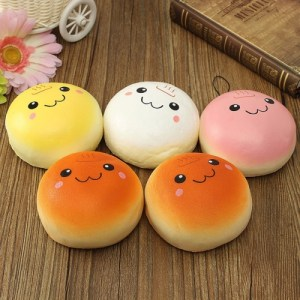 3 PCS 10*10cm Yellow PU Squishy Hamburger Toy Lovely Bread Bun Simulation Bread Decompression Children Early Childhood Education Toys, Random Color Delivery