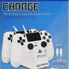 PS4: Officially Licensed Dual Ohjain Stand with Twin USB Charging Cables (White)