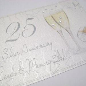 25th Silver Anniversary, Card & Memory Book, Champagne Glasses /Stationary