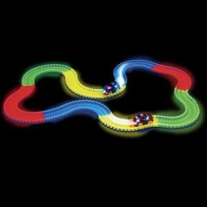 New Magic Tracks DIY Flex Glow Electric LED Light Up Racing Car Funny Bricks Educational Toys For Children with 220 PCS Glow Tracks & 1 LED Light-up Car