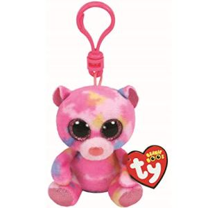 TY Beanie Boos FRANKY - Pink multicolored bear clip