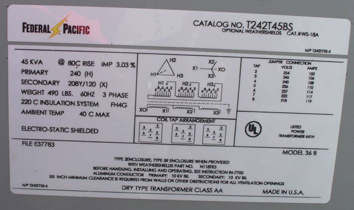 480 Vac Three Phase Wiring Diagram Federal Pacific T242t45bs 45 Kva 3 Phase Dry Type