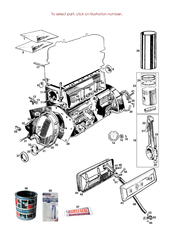MG TD and TF ENGINE BLOCK COMPONENTS