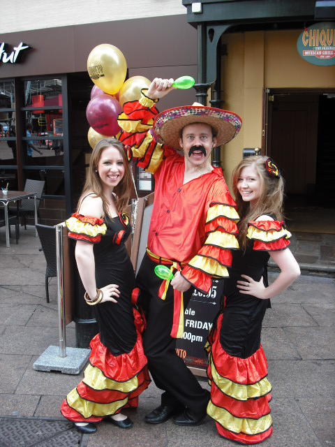 Staff at Chiquitos promotion Leicester Square, London