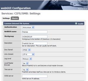 Enabling CIFS/SMB sharing