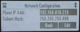 Polycom SoundStation IP5000 Network Menu (approx actual size)