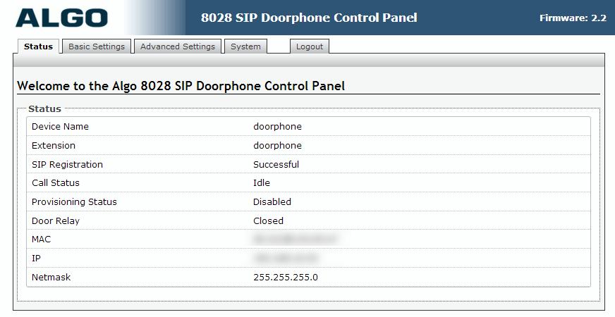 Algo 8028 SIP Door Phone - Web UI - Status