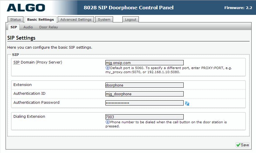 Algo 8028 SIP Door Phone - Web UI - Basics - SIP