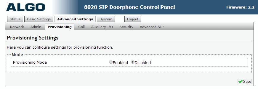 Algo 8028 SIP Door Phone - Web UI - Advanced Provisioning