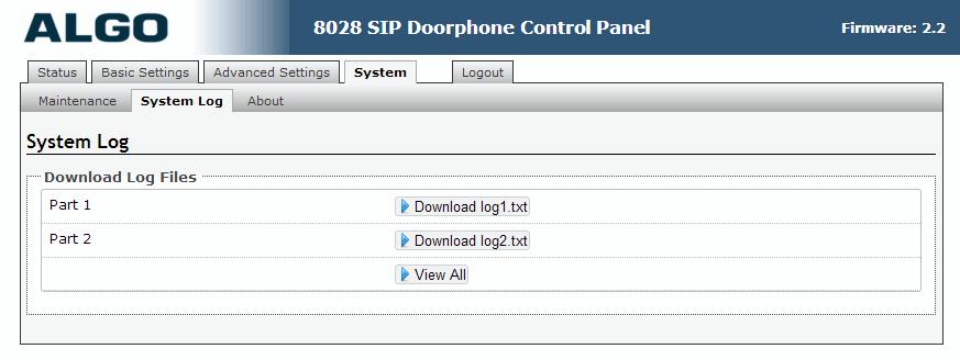 Algo 8028 SIP Door Phone - Web UI - System Logs