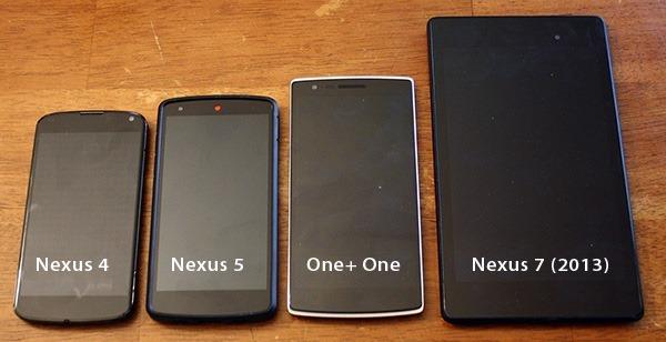 Nexus4-Nexus5-OnePlusOne-Nexus7-comparative