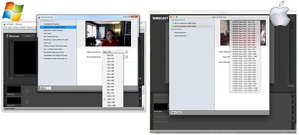 Wirecast Windows vs Mac Webcam Properties 600px