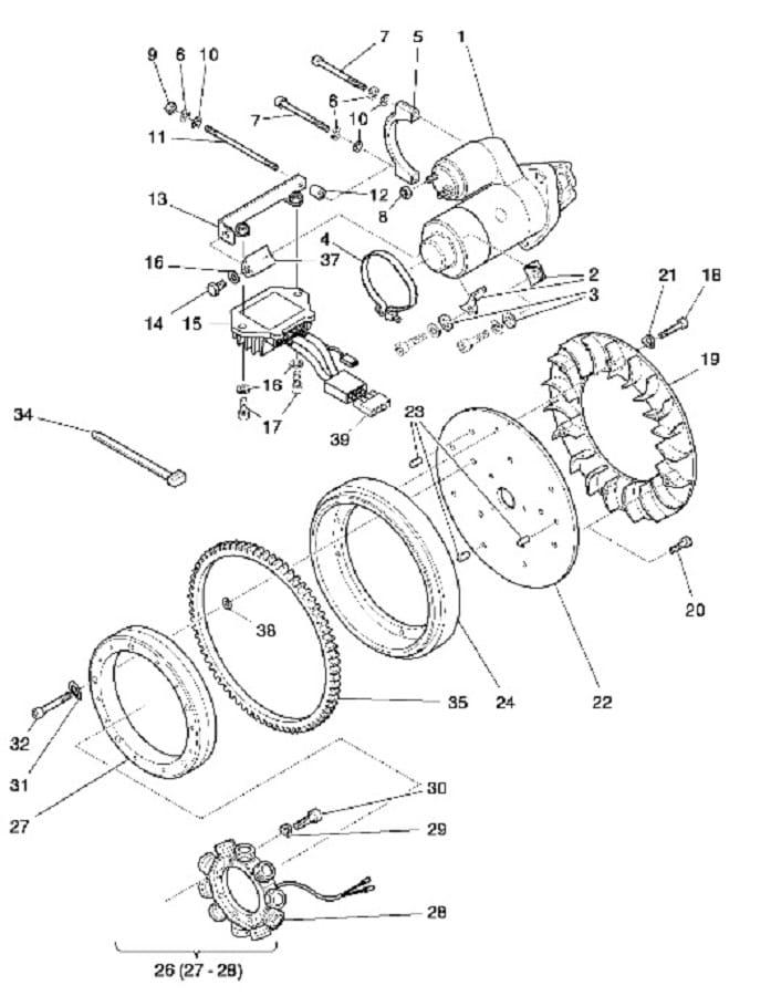 HATZ 1B20 1B30 alternator 12V 200W 01925900 MGS-Technics