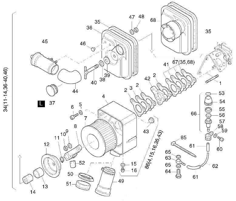 HATZ 1D81 1D90 uszczelki obudowy filtra powietrza 01287900