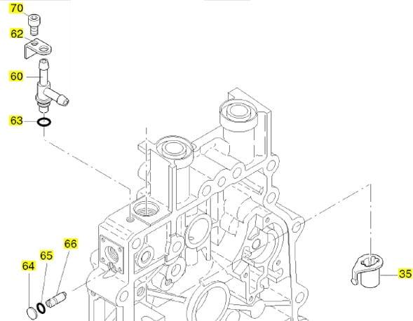 HATZ 1B20 1B30 1B40 docisk trójnika 05390700 MGS-Technics