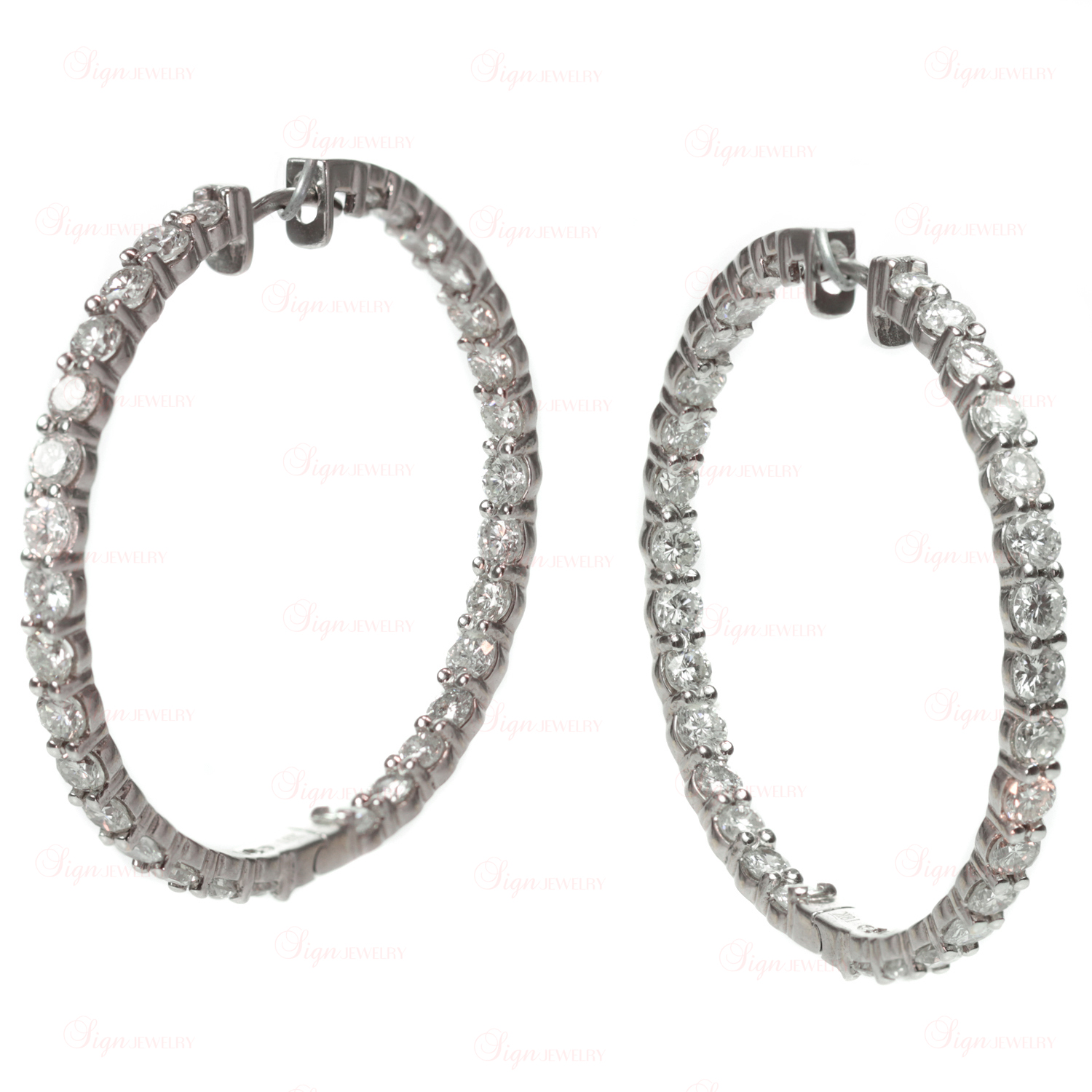 Custom-Made Diamond 18k White Gold Large Hoop Earrings