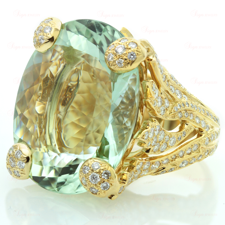 CHRISTIAN DIOR Diamond Green Aquamarine 18k Yellow Gold Ring