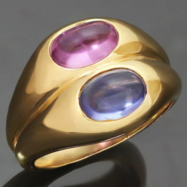 Bvlgari Blue Pink Sapphire 18k Yellow Gold Ring