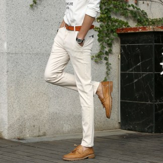 Mens-British-Style-Slim-Chino-Soft-Denim-Stretch-Jeans-Pants-Blue-Beige-White-32-33-34-1