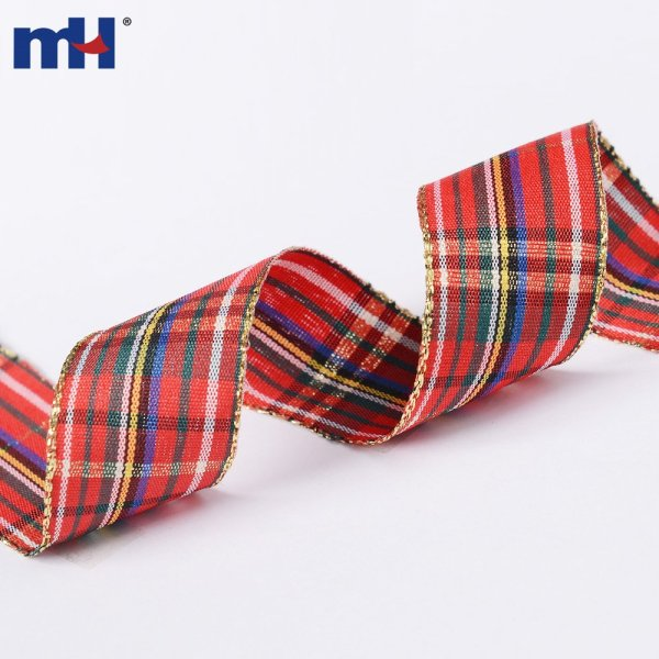 Festival Wired Plaid Fabric Ribbon