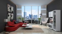simply urban living room design with black wallpaper on ...