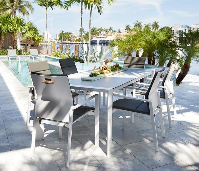 samosi modern white aluminum outdoor dining collection