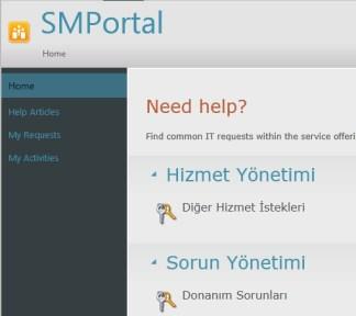 Service Manager 2012 R2 Eski Self Service Portal