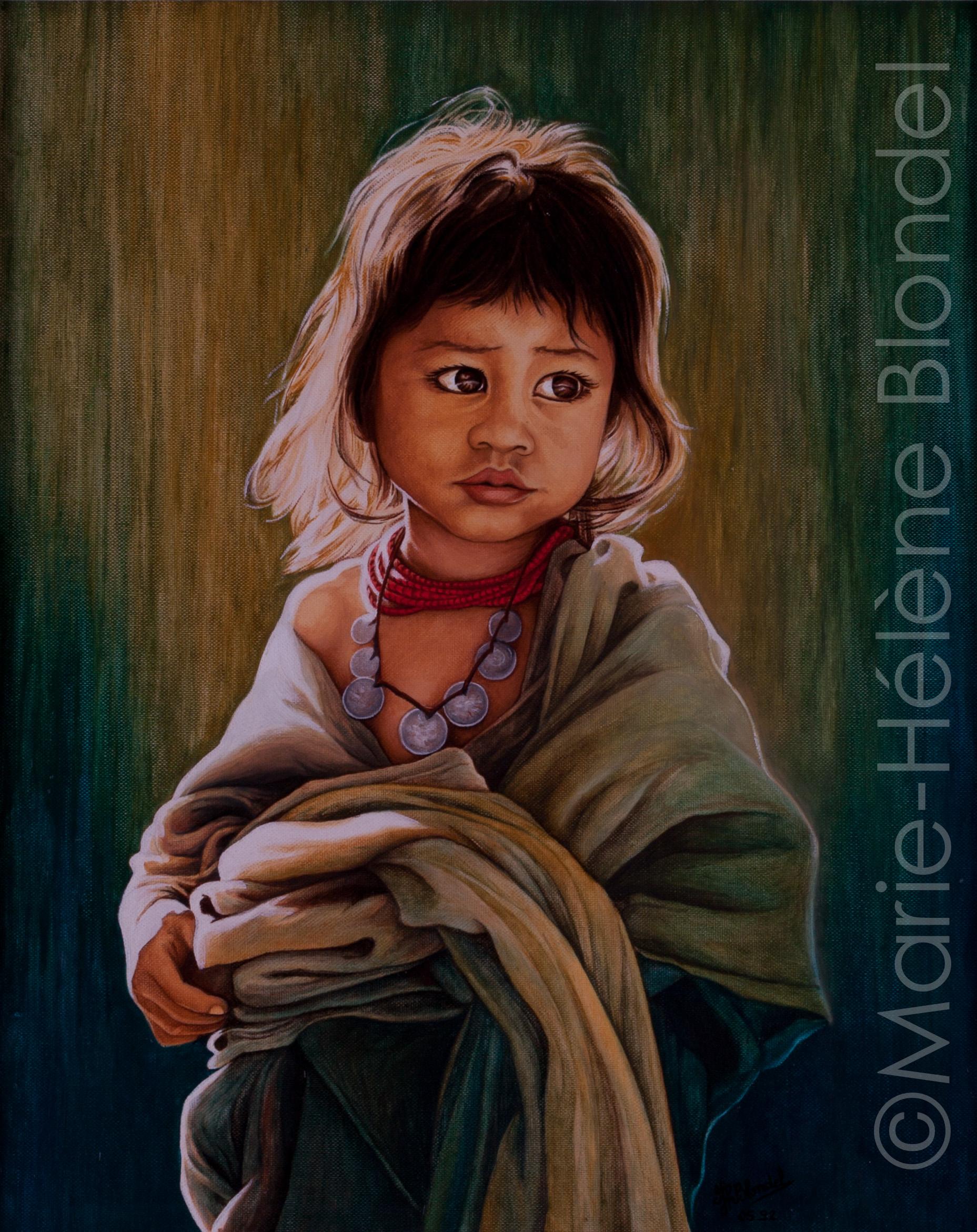 Petite villageoise – 1992 – Huile sur carton entoilé – 41 X 35