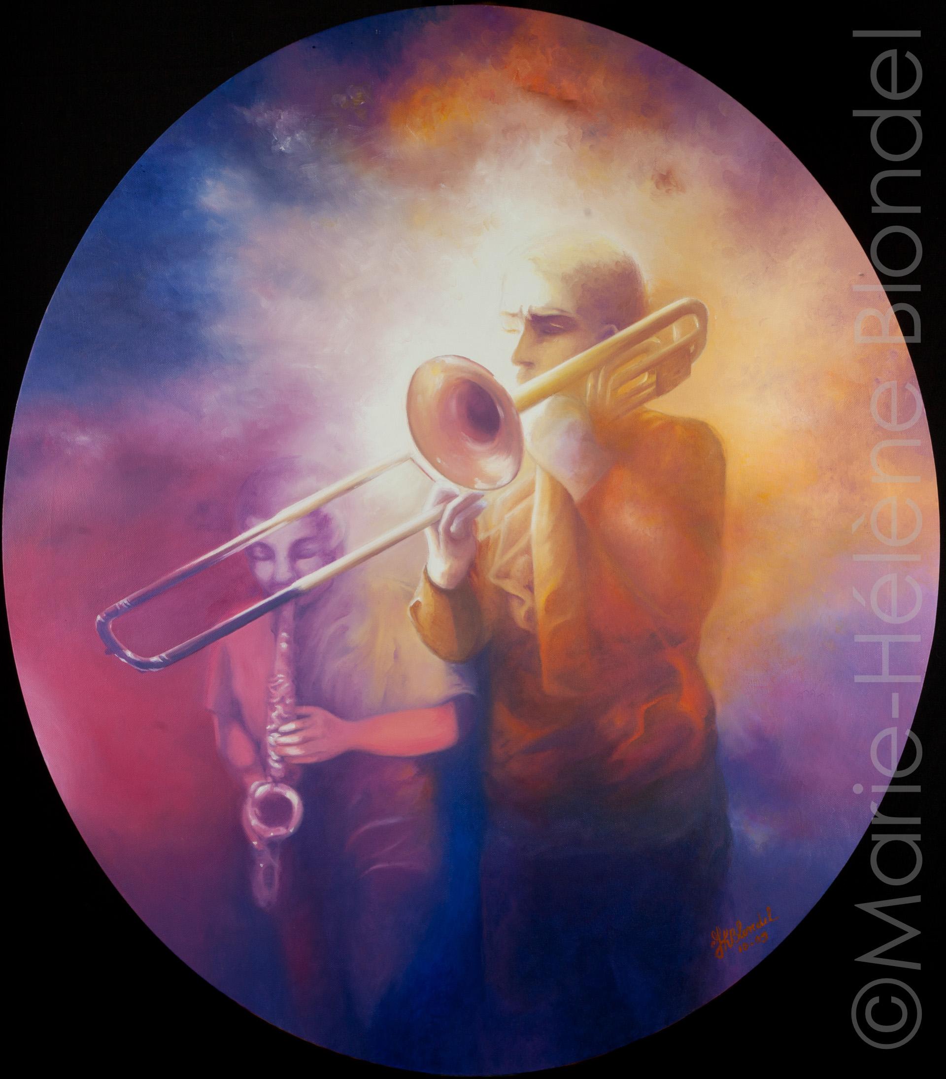 Et que sonne le trombone ! – 2009 – Huile sur toile – 80 X 70 (ovale)