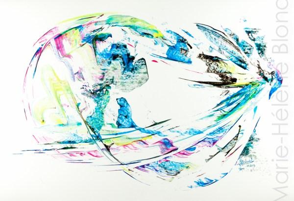 La marmotte et l'oiseau – 2013 – Acrylique sur carton – 50 X 65 – 325€