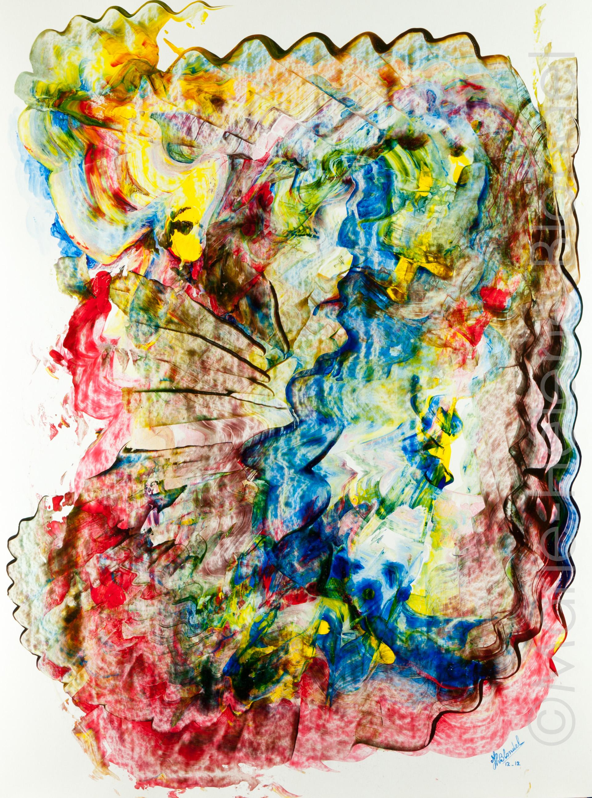 La femme au chien – 2012 – Acrylique sur carton – 65 X 50 – 300€