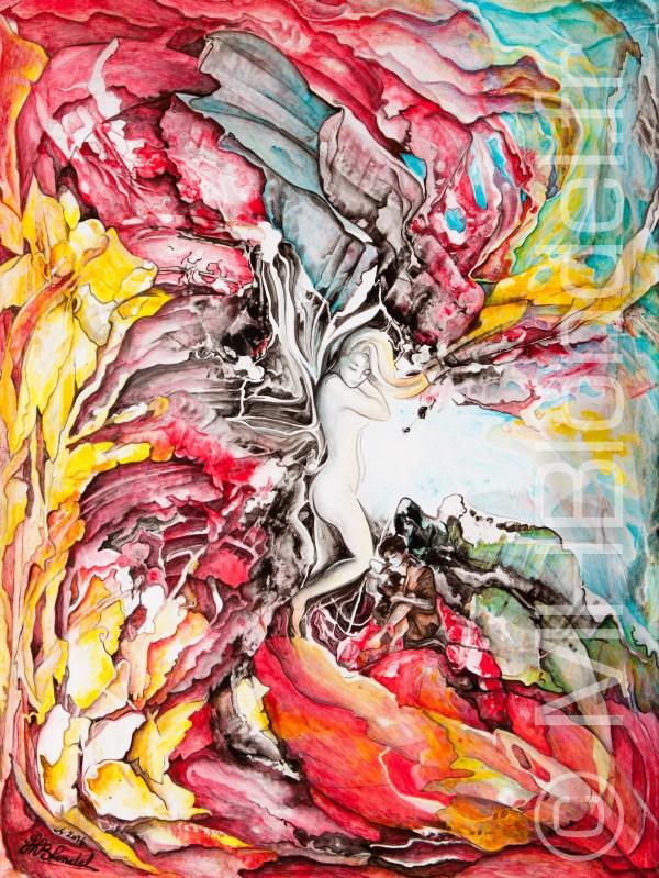 """""""Transparences""""   Grotte rouge – Acrylique sur carton plume – 65 X 50 – 350€"""