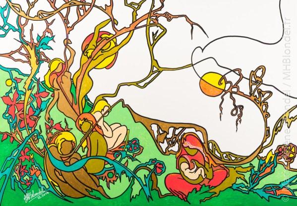 Paisible jardin – Encres sur carton – 34 X 48cm – 30€