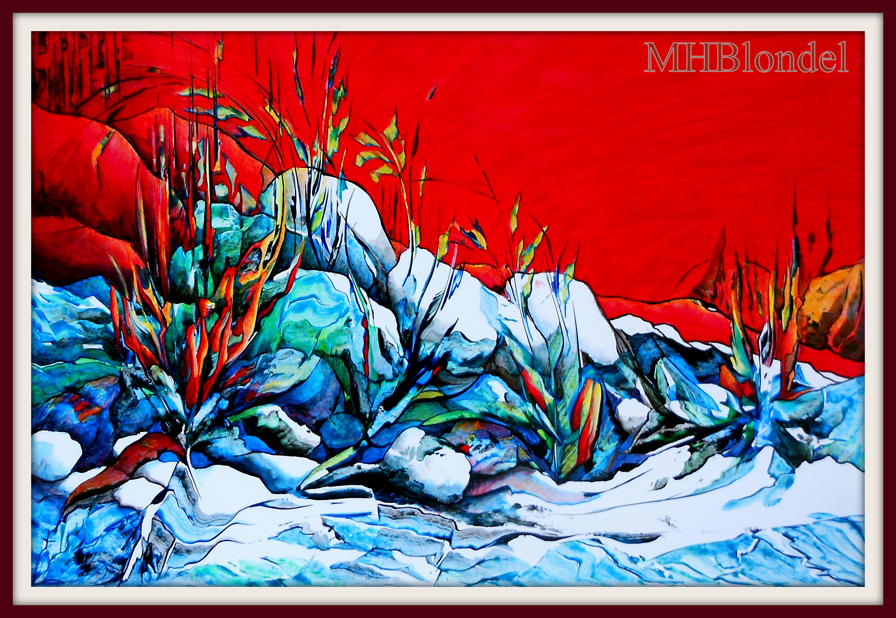 Feu et glace – Acrylique sur carton plume – 47 X 65 cm – 300€