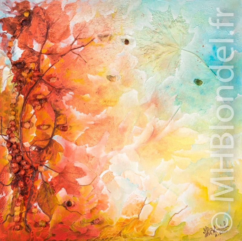 Cueillette d'automne (diptyque, n°2) – Acrylique sur toile – 40 X 40 – Non disponible
